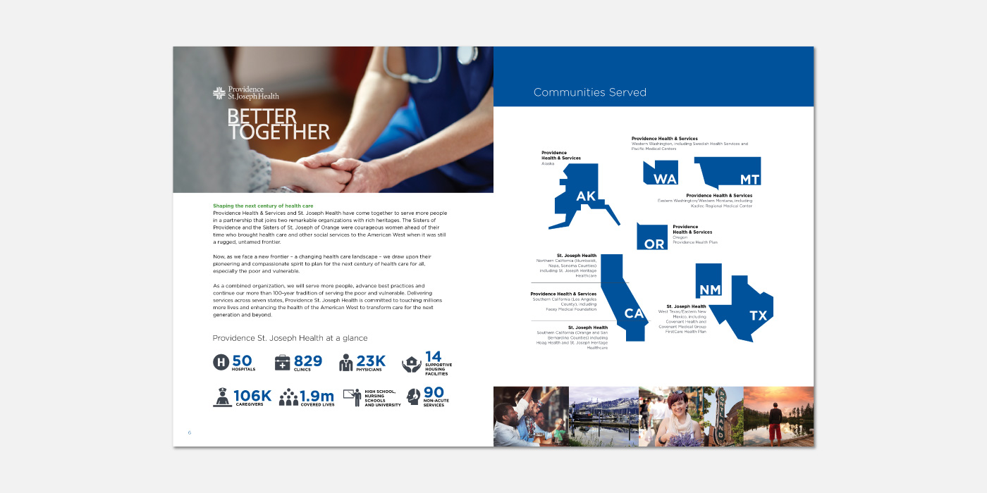 Pages from the Providence St. Joseph Health provider recruitment annual report