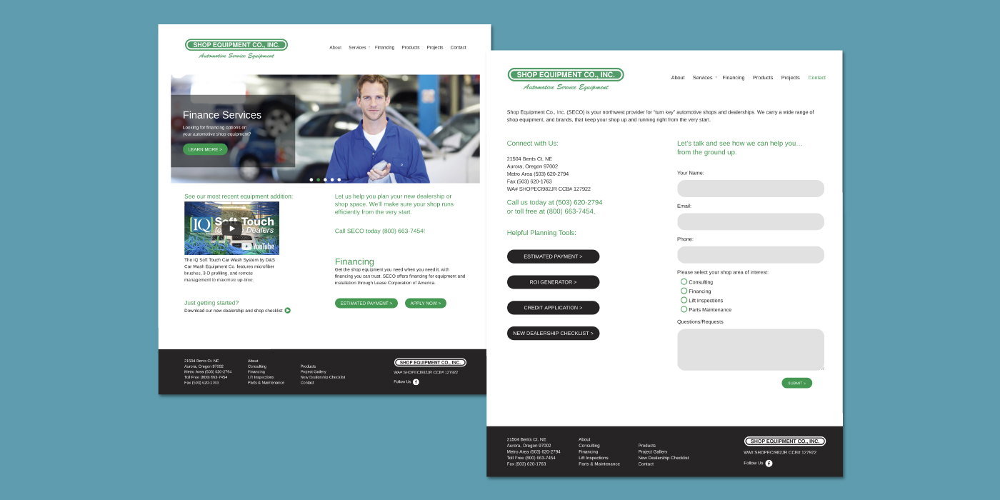 Shop Equipment Co., Inc. custom Wordpress theme, responsive website views