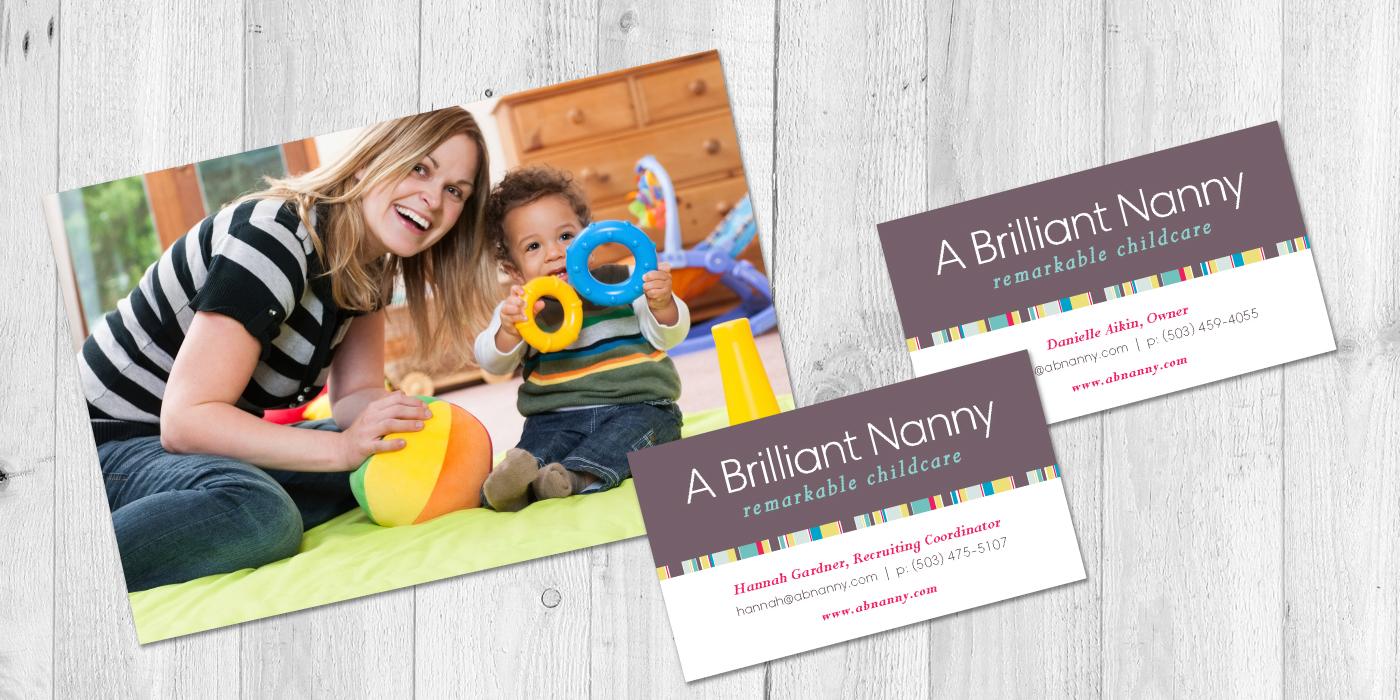 A Brilliant Nanny logo and business card design