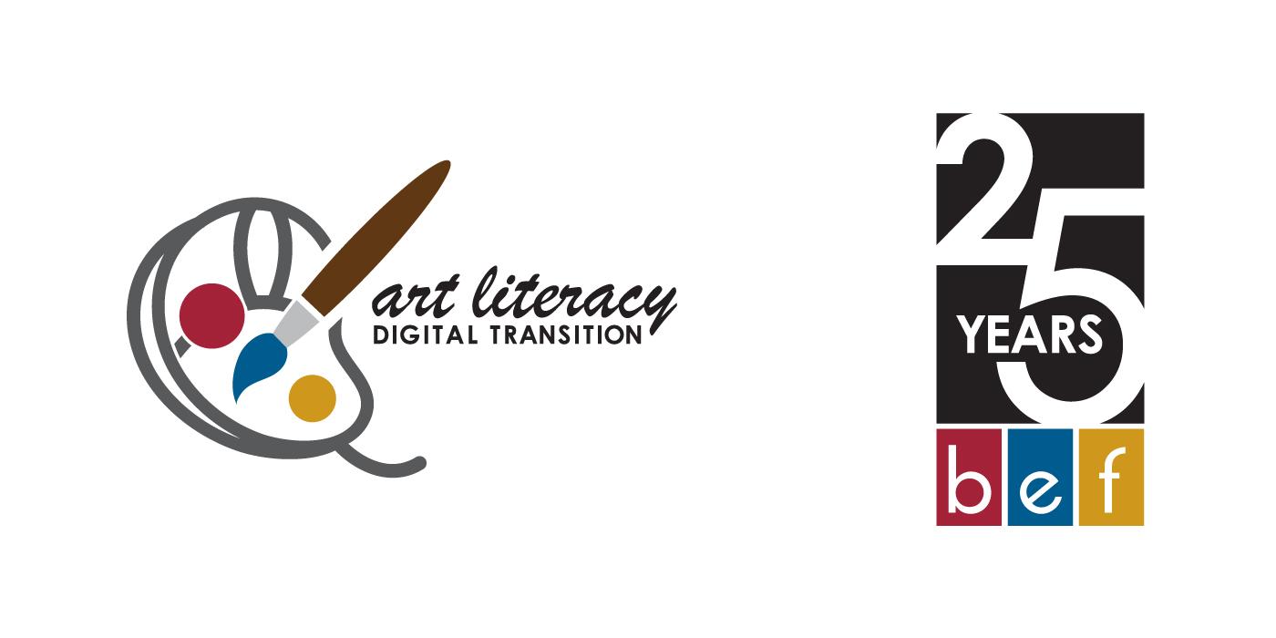 Beaverton Education Foundation logo identities for art literacy digital transition and 25th anniversary