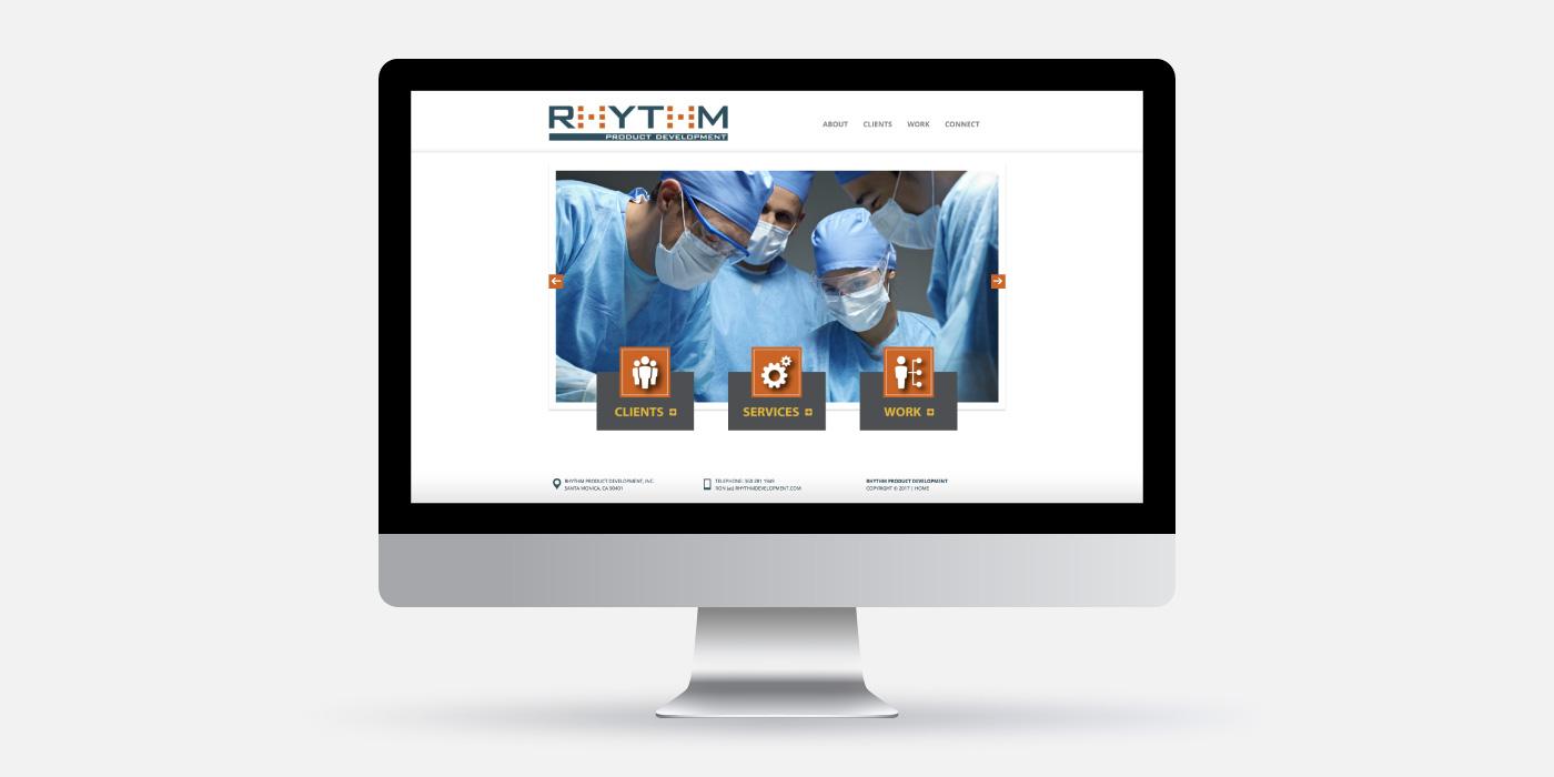Rhythm Product Development desktop view of website